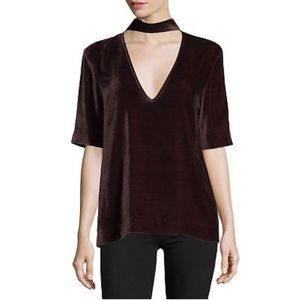 Theory Wine Red Luxe Velvet Collar Blouse